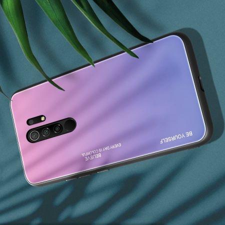 Силиконовый Стеклянный Розовый / Фиолетовый Градиентный Корпус Чехол для Телефона Xiaomi Redmi 9