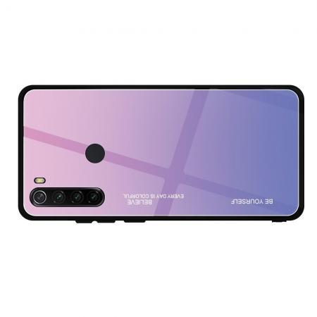 Силиконовый Стеклянный Розовый / Фиолетовый Градиентный Корпус Чехол для Телефона Xiaomi Redmi Note 8
