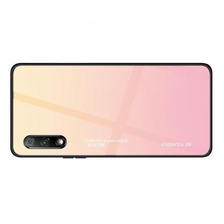 Силиконовый Стеклянный Розовый Градиентный Корпус Чехол для Телефона Huawei Honor 9X