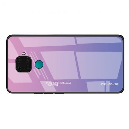 Силиконовый Стеклянный Розовый Градиентный Корпус Чехол для Телефона Huawei Mate 30 Lite