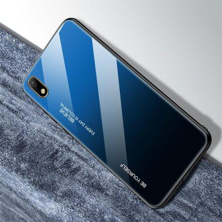Силиконовый Стеклянный Синий / Черный Градиентный Корпус Чехол для Телефона Huawei Honor 8S / Y5 2019