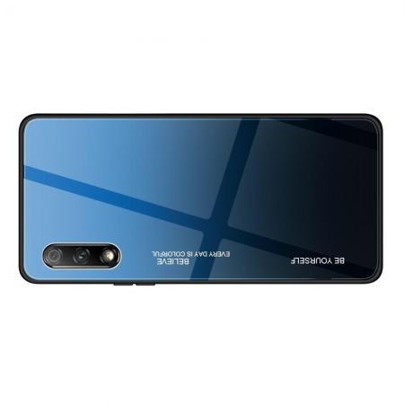 Силиконовый Стеклянный Синий / Черный Градиентный Корпус Чехол для Телефона Huawei Honor 9X