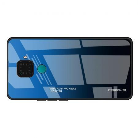 Силиконовый Стеклянный Синий / Черный Градиентный Корпус Чехол для Телефона Huawei Mate 30 Lite