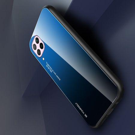 Силиконовый Стеклянный Синий / Черный Градиентный Корпус Чехол для Телефона Huawei P40 Lite