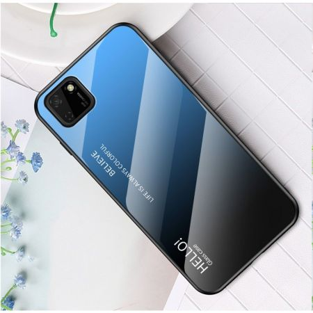 Силиконовый Стеклянный Синий / Черный Градиентный Корпус Чехол для Телефона Huawei Y5p / Honor 9S