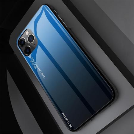 Силиконовый Стеклянный Синий / Черный Градиентный Корпус Чехол для Телефона iPhone 11 Pro