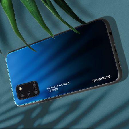 Силиконовый Стеклянный Синий / Черный Градиентный Корпус Чехол для Телефона Samsung Galaxy A31