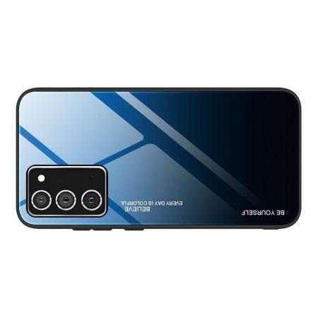 Силиконовый Стеклянный Синий / Черный Градиентный Корпус Чехол для Телефона Samsung Galaxy A72