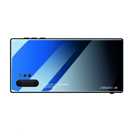 Силиконовый Стеклянный Синий / Черный Градиентный Корпус Чехол для Телефона Samsung Galaxy Note 10 Plus