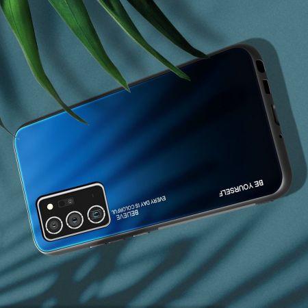 Силиконовый Стеклянный Синий / Черный Градиентный Корпус Чехол для Телефона Samsung Galaxy Note 20 Ultra