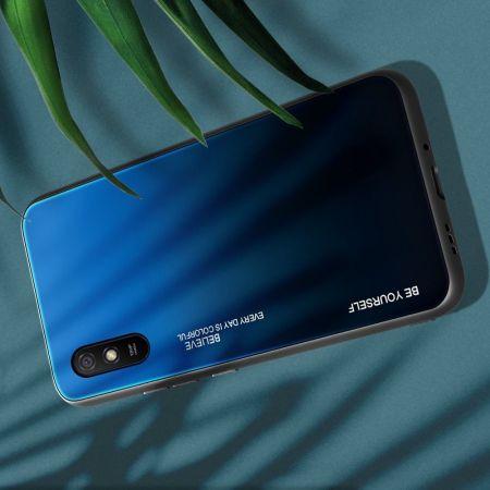 Силиконовый Стеклянный Синий / Черный Градиентный Корпус Чехол для Телефона Xiaomi Redmi 9A