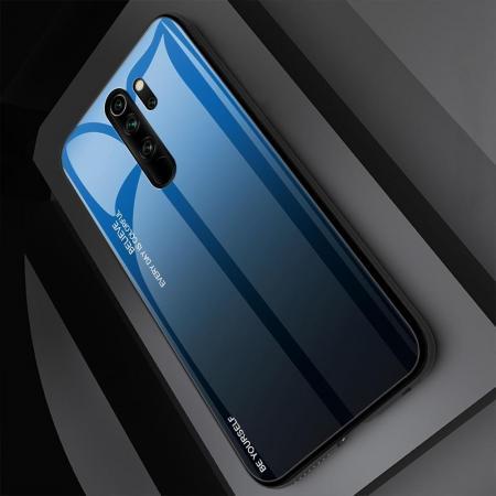 Силиконовый Стеклянный Синий / Черный Градиентный Корпус Чехол для Телефона Xiaomi Redmi Note 8 Pro