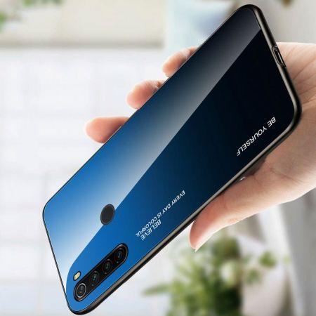 Силиконовый Стеклянный Синий / Черный Градиентный Корпус Чехол для Телефона Xiaomi Redmi Note 8T