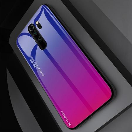 Силиконовый Стеклянный Синий / Фиолетовый Градиентный Корпус Чехол для Телефона Xiaomi Redmi Note 8 Pro