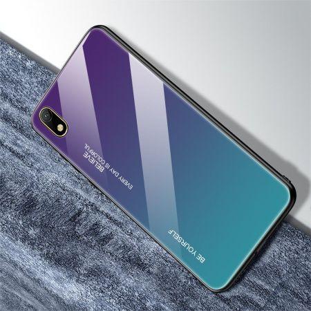 Силиконовый Стеклянный Синий Градиентный Корпус Чехол для Телефона Huawei Honor 8S / Y5 2019