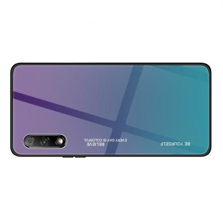 Силиконовый Стеклянный Синий Градиентный Корпус Чехол для Телефона Huawei Honor 9X