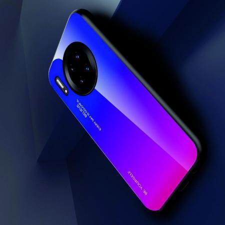 Силиконовый Стеклянный Синий Градиентный Корпус Чехол для Телефона Huawei Mate 30 Pro