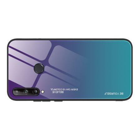 Силиконовый Стеклянный Синий Градиентный Корпус Чехол для Телефона Huawei P40 lite E