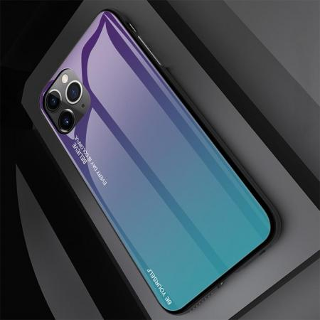 Силиконовый Стеклянный Синий Градиентный Корпус Чехол для Телефона iPhone 11 Pro