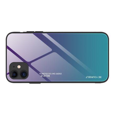 Силиконовый Стеклянный Синий Градиентный Корпус Чехол для Телефона iPhone 12 Pro Max 6.7