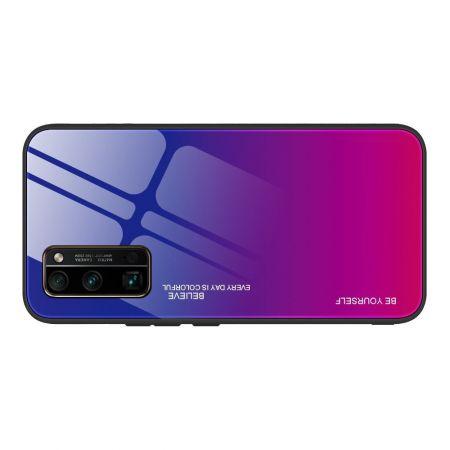 Силиконовый Стеклянный Синий / Розовый Градиентный Корпус Чехол для Телефона Huawei Honor 30 Pro