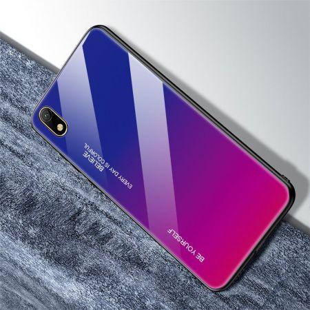 Силиконовый Стеклянный Синий / Розовый Градиентный Корпус Чехол для Телефона Huawei Honor 8S / Y5 2019