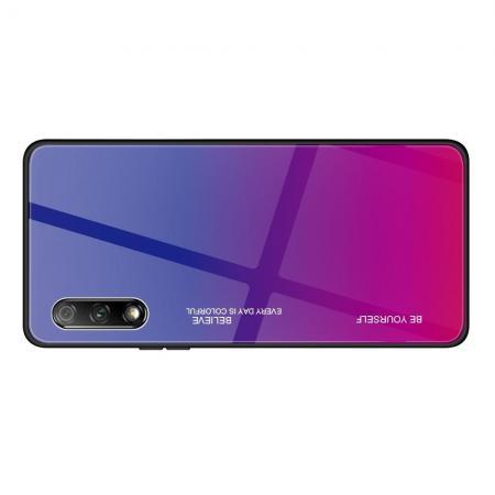 Силиконовый Стеклянный Синий / Розовый Градиентный Корпус Чехол для Телефона Huawei Honor 9X