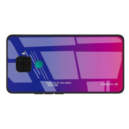 Силиконовый Стеклянный Синий / Розовый Градиентный Корпус Чехол для Телефона Huawei Mate 30 Lite