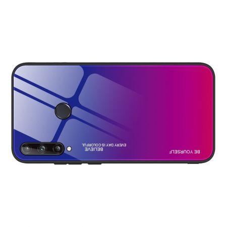 Силиконовый Стеклянный Синий / Розовый Градиентный Корпус Чехол для Телефона Huawei P40 lite E