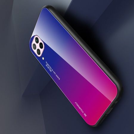 Силиконовый Стеклянный Синий / Розовый Градиентный Корпус Чехол для Телефона Huawei P40 Lite