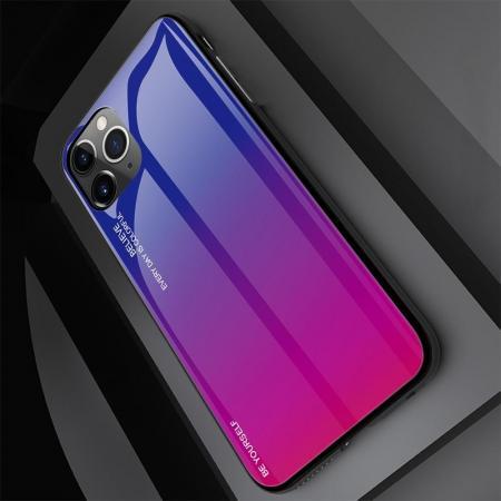 Силиконовый Стеклянный Синий / Розовый Градиентный Корпус Чехол для Телефона iPhone 11 Pro