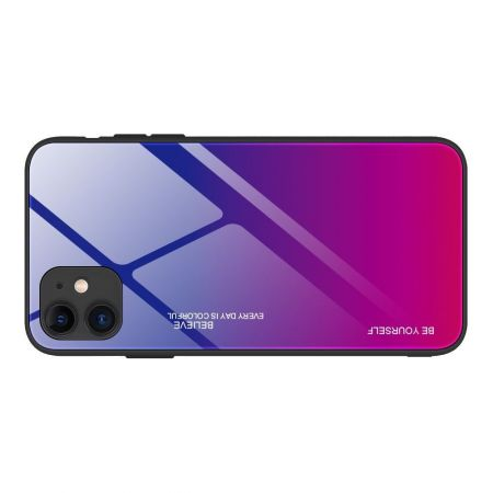 Силиконовый Стеклянный Синий / Розовый Градиентный Корпус Чехол для Телефона iPhone 12 Pro Max 6.7