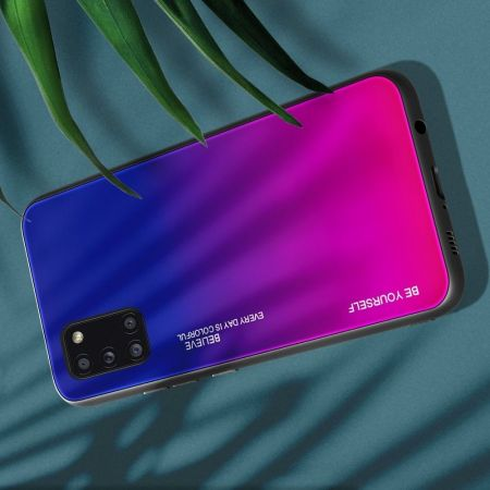 Силиконовый Стеклянный Синий / Розовый Градиентный Корпус Чехол для Телефона Samsung Galaxy A31
