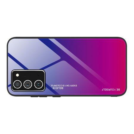 Силиконовый Стеклянный Синий / Розовый Градиентный Корпус Чехол для Телефона Samsung Galaxy A52