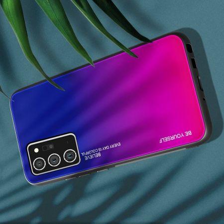 Силиконовый Стеклянный Синий / Розовый Градиентный Корпус Чехол для Телефона Samsung Galaxy Note 20 Ultra