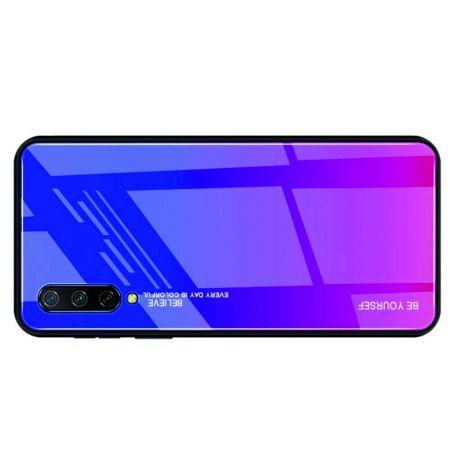 Силиконовый Стеклянный Синий / Розовый Градиентный Корпус Чехол для Телефона Xiaomi Mi 9 Lite