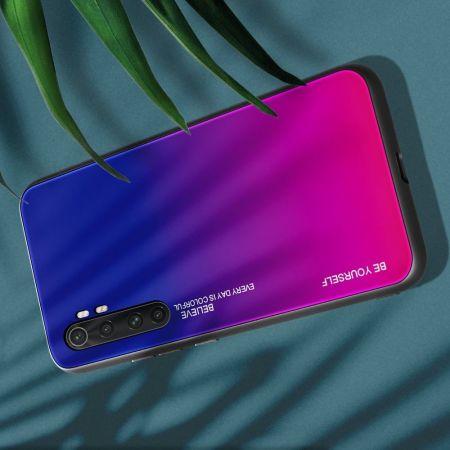 Силиконовый Стеклянный Синий / Розовый Градиентный Корпус Чехол для Телефона Xiaomi Mi Note 10 Lite