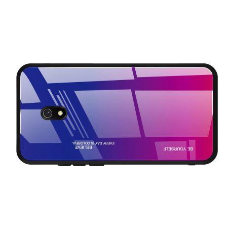 Силиконовый Стеклянный Синий / Розовый Градиентный Корпус Чехол для Телефона Xiaomi Redmi 8A