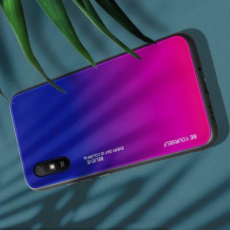 Силиконовый Стеклянный Синий / Розовый Градиентный Корпус Чехол для Телефона Xiaomi Redmi 9A
