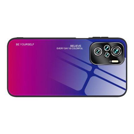 Силиконовый Стеклянный Синий / Розовый Градиентный Корпус Чехол для Телефона Xiaomi Redmi Note 10