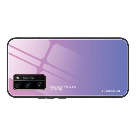Силиконовый Стеклянный Светло Розовый Градиентный Корпус Чехол для Телефона Huawei Honor 30 Pro