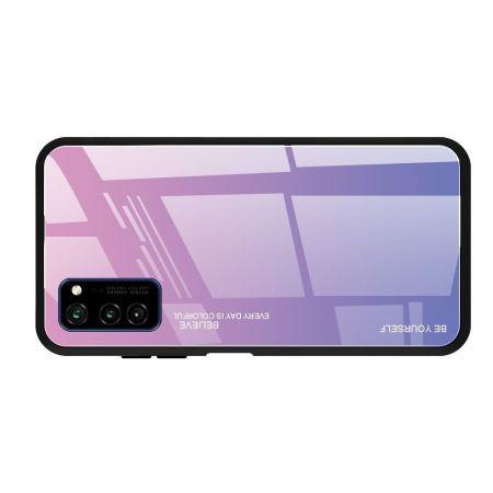 Силиконовый Стеклянный Светло Розовый Градиентный Корпус Чехол для Телефона Huawei Honor View 30 / View 30 Pro