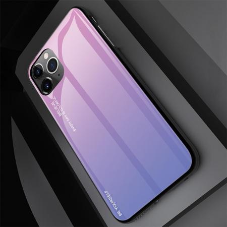 Силиконовый Стеклянный Светло Розовый Градиентный Корпус Чехол для Телефона iPhone 11 Pro
