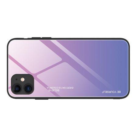 Силиконовый Стеклянный Светло Розовый Градиентный Корпус Чехол для Телефона iPhone 12 Pro 6.1 / Max 6.1