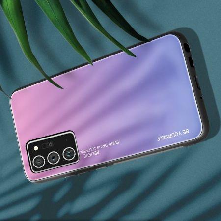 Силиконовый Стеклянный Светло Розовый Градиентный Корпус Чехол для Телефона Samsung Galaxy Note 20 Ultra