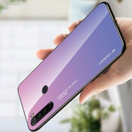 Силиконовый Стеклянный Светло Розовый Градиентный Корпус Чехол для Телефона Xiaomi Redmi Note 8T