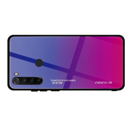 Силиконовый Стеклянный Темно Синий / Розовый Градиентный Корпус Чехол для Телефона Xiaomi Redmi Note 8