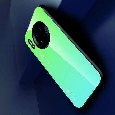 Силиконовый Стеклянный Зеленый Градиентный Корпус Чехол для Телефона Huawei Mate 30 Pro