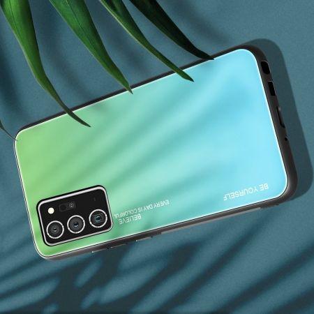 Силиконовый Стеклянный Зеленый Градиентный Корпус Чехол для Телефона Samsung Galaxy Note 20
