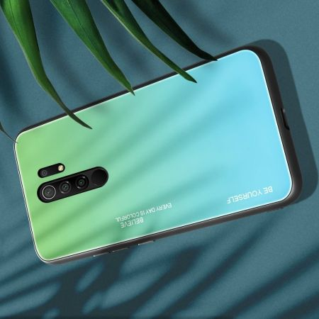 Силиконовый Стеклянный Зеленый Градиентный Корпус Чехол для Телефона Xiaomi Redmi 9